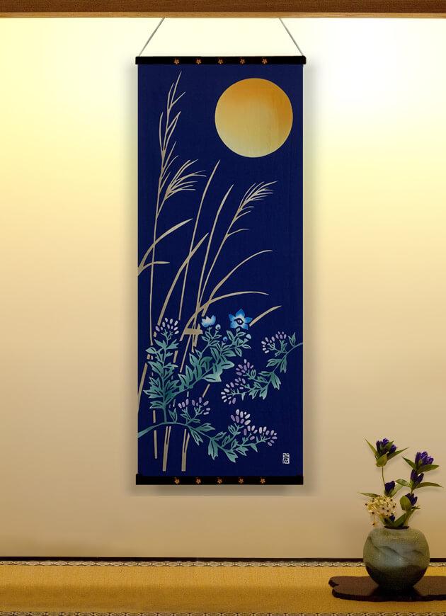 今月の手ぬぐい「月に秋草図」