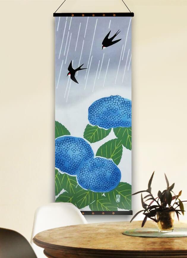 手ぬぐい「紫陽花につばめ」梅雨