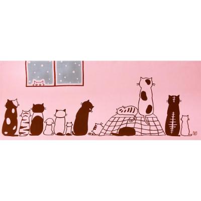 手ぬぐい「ネコたちの冬」