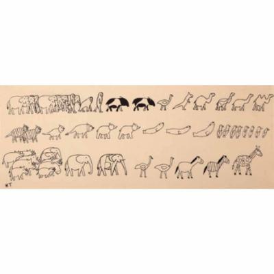 手ぬぐい「動物の行進」