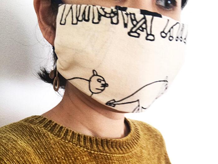 手ぬぐいマスク「動物の行進」