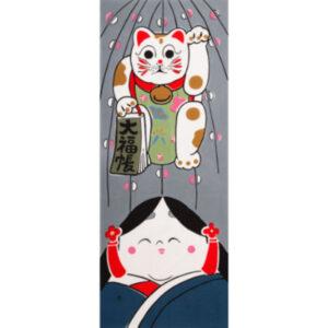 手ぬぐい「招き猫とお福さん」