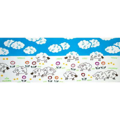 Idyllic countryside with sheep symbolizing peaceful world is drawn. This will bring you happiness for the Year of the Sheep.