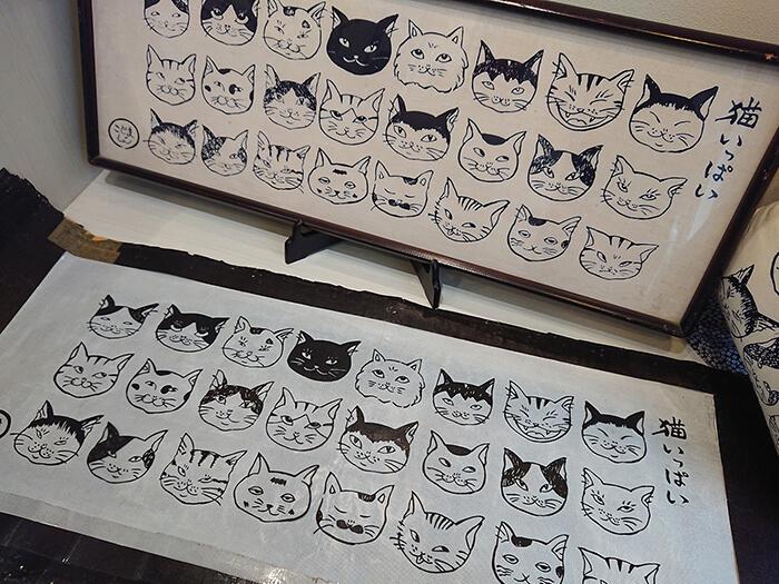 伊勢型紙と手ぬぐい「猫いっぱい」