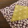 シャンタンチーフ「小桜/麻の葉(紫)」