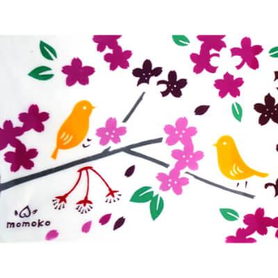 手ぬぐいハンカチ「花と小鳥」
