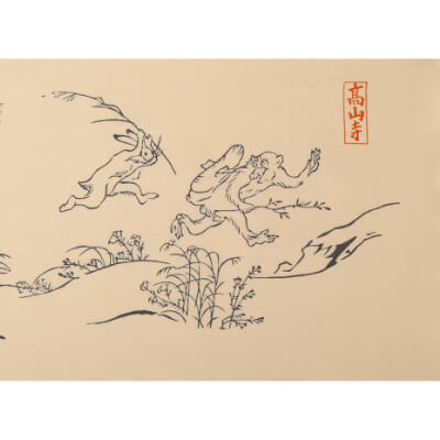 手ぬぐいハンカチ「鳥獣戯画」A