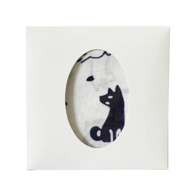 【ギフトセット】手ぬぐいハンカチ「桜と犬(紺)」