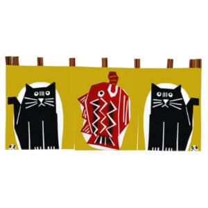 手ぬぐいのれん「手ぬぐいのれん もの欲しげな猫2匹」