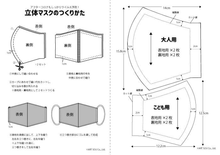 手ぬぐいで作る立体マスクの作り方の型紙