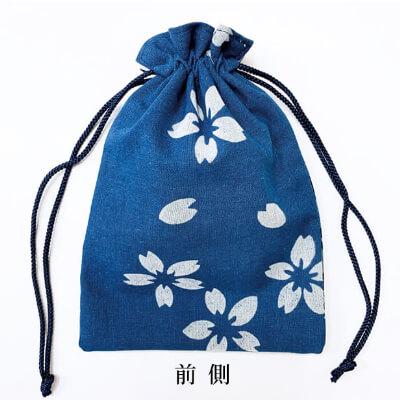 【阿波徳島】藍染め巾着「桜」