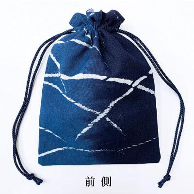 【阿波徳島】藍染め巾着「露芝」