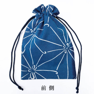 【阿波徳島】藍染め巾着「麻の葉」