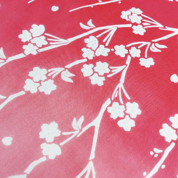 手ぬぐい「しだれ桜とメジロ」注染のぼかし